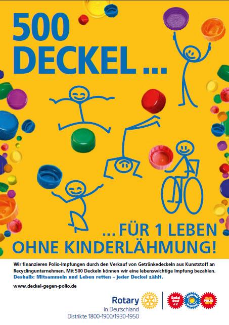 Plakat 500 Deckel für 1 Leben ohne Kinderlähmung